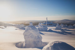 Beautiful cold mountain view of ski resort, sunny winter day wit Stock Images