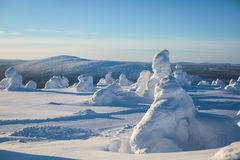 Beautiful cold mountain view of ski resort, sunny winter day wit Stock Photo
