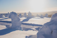 Beautiful cold mountain view of ski resort, sunny winter day wit Stock Photography