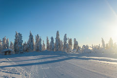 Beautiful cold mountain view of ski resort, sunny winter day wit Royalty Free Stock Image
