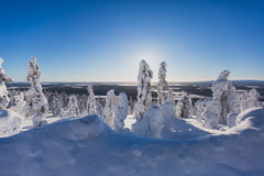 Beautiful cold mountain view of ski resort, sunny winter day wit Royalty Free Stock Images