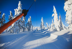 Beautiful cold mountain view of ski resort, sunny winter day wit Stock Image