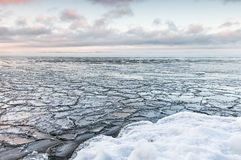 Beautiful cold winter day next to freezing lake Stock Images