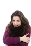 Beautiful cold woman in winter clothing Royalty Free Stock Image