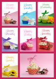 Beautiful collage of cupcakes, one for each day of the week, Stock Image