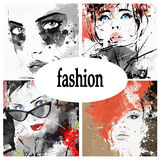 Beautiful collage. Faces of women. Hand painted fashion illustration stock illustration