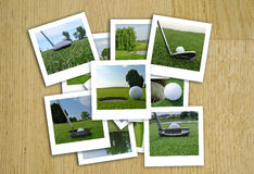 Beautiful collage of golf photos in various format Stock Images