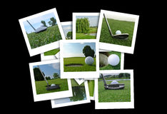 Beautiful collage of golf photos in various format Royalty Free Stock Photo