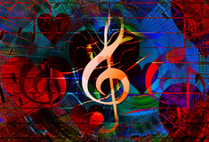 Beautiful collage with hearts and music notes and music clefs, symbolizining the love to music. Beautiful collage with hearts and music notes and music clefs Stock Image