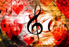 Beautiful collage with hearts and music notes and music clefs, symbolizining the love to music. vector illustration