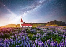 Beautiful collage Lutheran Church in Vik under fantastic starry sky. Iceland.  Stock Images