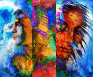Beautiful Collage Painting Of An Indian Man And Royalty Free Stock Photos
