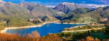 Panoramic view of beautiful lake Turano and village Colle di tor. Beautiful Colle di Tora village,Turano lake,Rieti province,Lazio,Italy Royalty Free Stock Photo