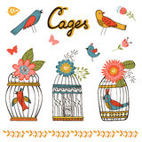 Beautiful collection of bird cages and little. Birds. Vector illustration Royalty Free Stock Images