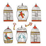 Beautiful collection of bird cages and little. Birds. Vector illustration Royalty Free Stock Photo