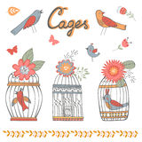 Beautiful collection of bird cages and little birds. Vector illustration Stock Photos
