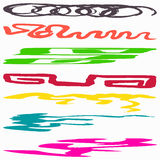 Beautiful collection of colored lines Graffiti symbols vector illustration Royalty Free Stock Image