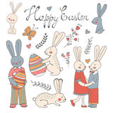 Beautiful collection of Easter related graphic elements Stock Image