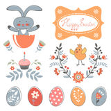 Beautiful collection of Easter related graphic elements Stock Images