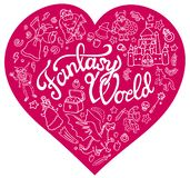 Fantasy characters and symbols in the pink heart stock illustration