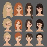 Beautiful collection of female in glasses. Vector design of beautiful collection of female in glasses and different haircuts. Hairdo. Set of woman eyeglasses vector illustration