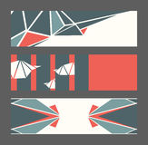 Beautiful collection of horizontal banners, based on blue and red triangles and white background. Vector illustration with laconic. Design, good for print Stock Image