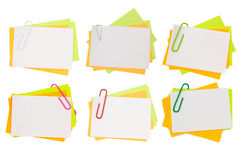 Beautiful collection multi color note with pink paper clip Royalty Free Stock Photos