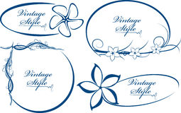 Beautiful collection of oval frames. Blue Stock Photos