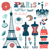Beautiful collection of paris related graphic Royalty Free Stock Photo