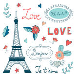 Beautiful collection of paris related graphic Stock Images