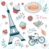 Beautiful collection of paris related graphic Royalty Free Stock Photography