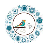 Beautiful  collection snowflakes colorful  Bird. Snow wreath with beautiful bird at the center - Christmas winter  theme  - layered and editable Stock Photography