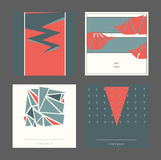 Beautiful collection of square cards, based on blue and red triangles and white background. Vector illustration with laconic desig. N, good for print, isolated Royalty Free Stock Photos