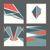 Beautiful collection of square cards, based on blue and red triangles and white background. Vector illustration with laconic desig. N, good for print, isolated Stock Image
