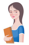 Beautiful college girl. An attractive young women holding a book Royalty Free Stock Photos