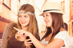 Beautiful college girls travelling Royalty Free Stock Images