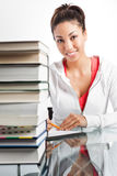 Beautiful college student. A shot of a beautiful black college student studying Stock Photography