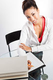Beautiful college student. A shot of a beautiful black college student studying Royalty Free Stock Image