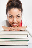 Beautiful college student. A shot of a beautiful black college student studying Stock Photos