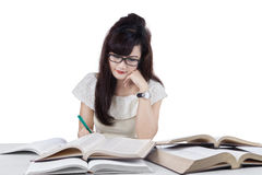 Beautiful college student studying Royalty Free Stock Image