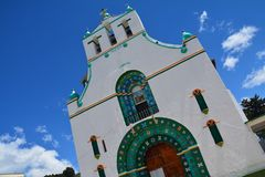 San Juan Chamula Church Chiapas Mexico. The beautiful colonial architecture of the San Juan Chamula Church a small village in the province of Chiapas in Mexico royalty free stock photography