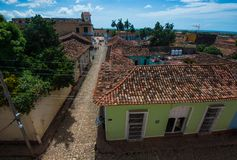 Beautiful Colonial Caribbean town overview with colorful stone street and building, Trinidad, Cuba, America. Colorful Colonial ancient city overview with stock photo
