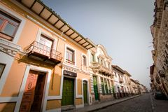 Beautiful colonial streets in downtown Cuenca Royalty Free Stock Image