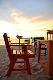 Beautiful color chair on the beach bar Royalty Free Stock Photography