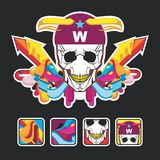 Beautiful color composition with a skull and icons Royalty Free Stock Images