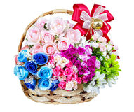 Beautiful color of flower in wicker basket on white background. Many beautiful colorful of flowers in wicker basket on white background, gift for someone in Stock Photography