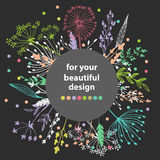 Beautiful color grass silhouette Stock Image