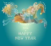 Beautiful color jumping horse. Symbol 2014 new year Stock Photo