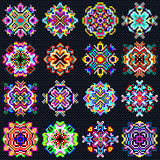 Beautiful Color Mandala Of Pixels Collection Of Vintage Objects Stock Image