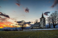 Beautiful color morning near the church Stock Images